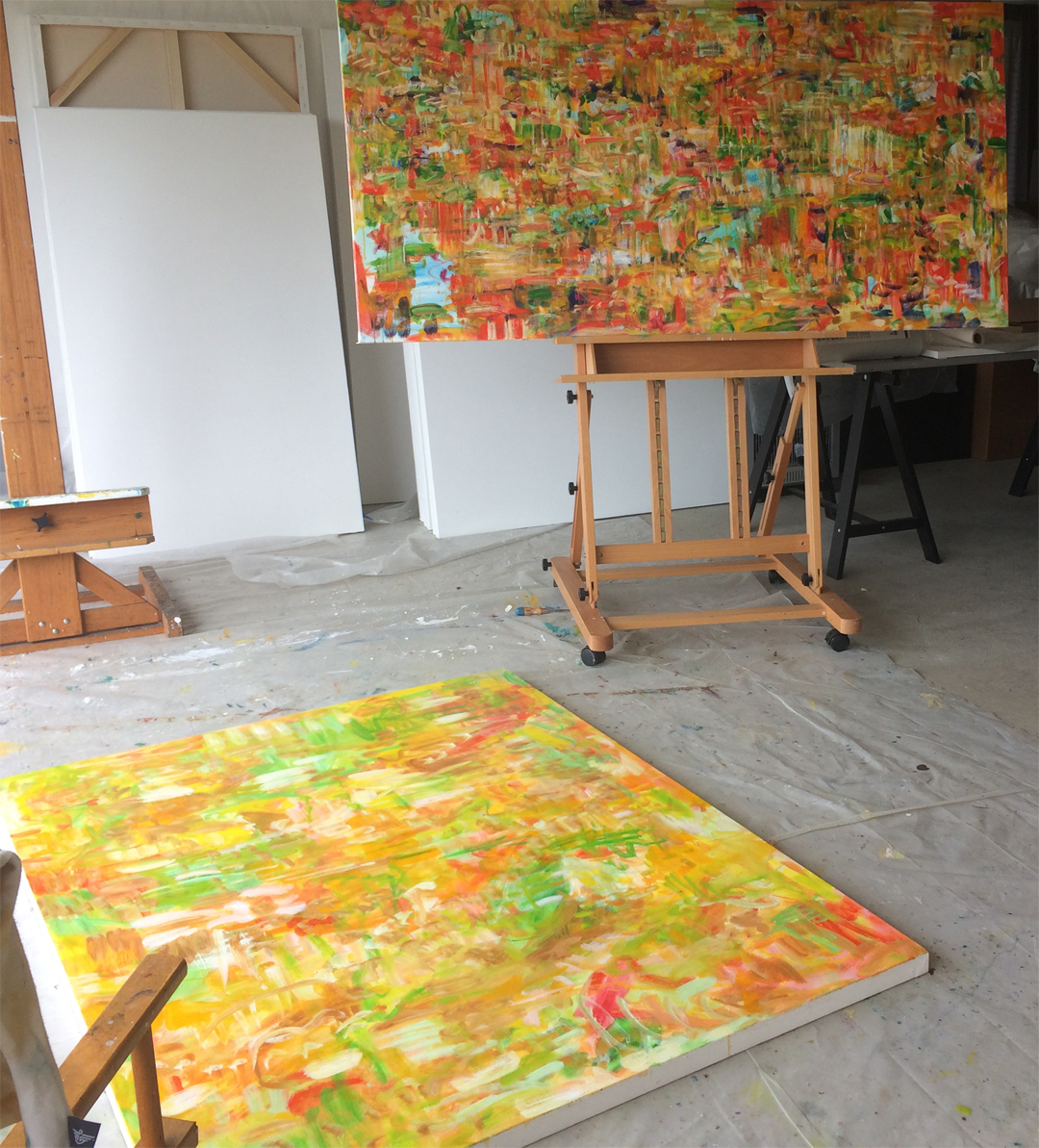 studio image of paintings in process